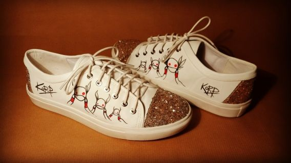Stand out from the crowd with these one of a kind Korp kicks.  Size 7 and originally from Dorothy Perkins they feature 3 Korpworms and the Korp signature on the outsides made with Sharpie fabric pens. Finished with glitter on the toes and heels for extra bling.