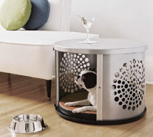 A dog den made out of a #recycled washing machine drum. It can also serve as a coffee table