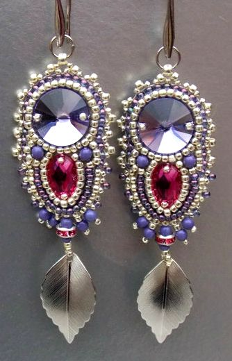 ~~Lilac, Fuchsia & Silver Seed Bead Embroidery Earring, Swarovski, Silv Embroidery jewelry, Swarovski, with silver leaf detail by Vicus~~