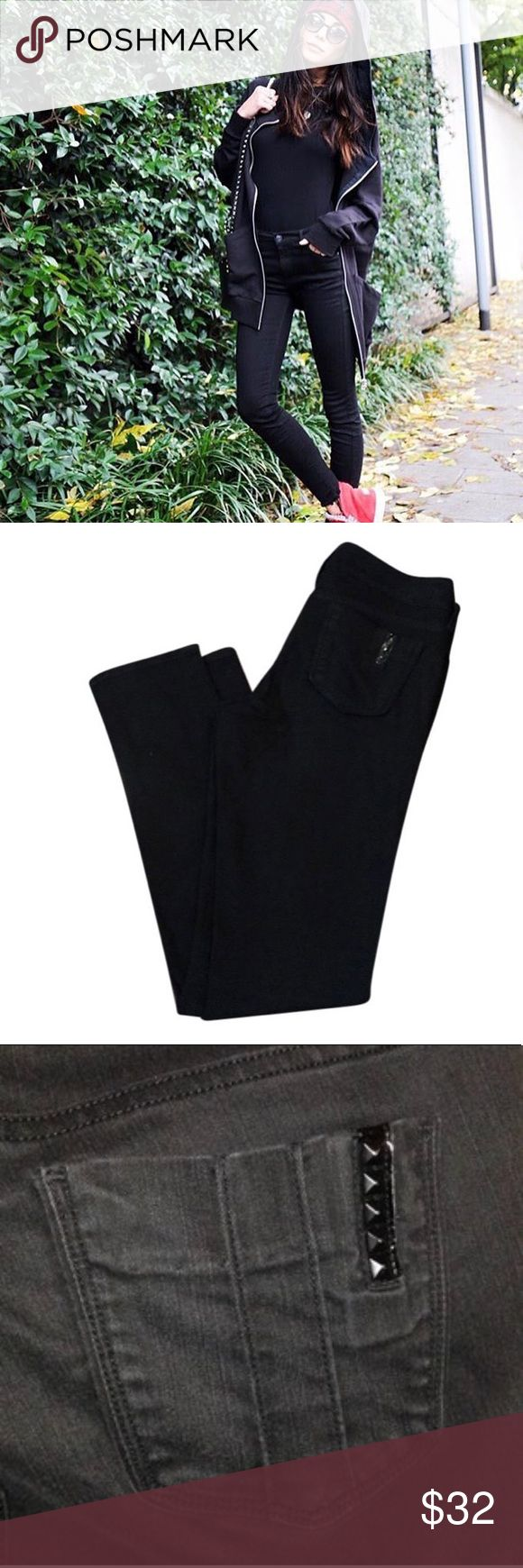 Black Orchid Jeans Black orchid denim jeans in jet black, with back rivets on pocket. Straight leg cut, in pre-loved condition. Black Orchid Jeans Straight Leg