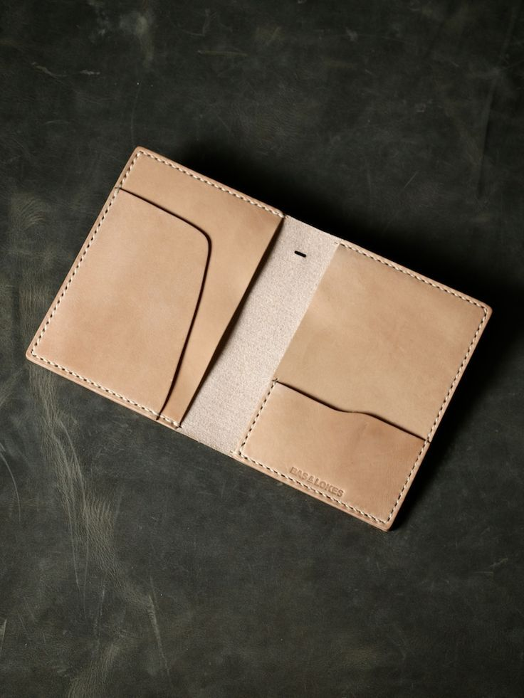 """Bas and Lokes Leather Goods - """"Magellan"""" Natural Veg Tan Leather Double Passport Wallet, $130.00 (http://www.basandlokes.com/magellan-natural-veg-tan-leather-double-passport-wallet/)"""