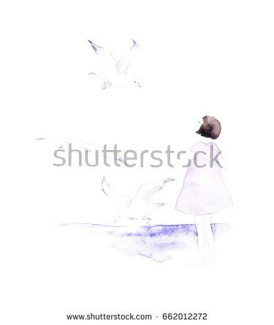 Watercolor silhouette of young girl with birds around her in watercolor style. Follow your dream  @knyshksenya