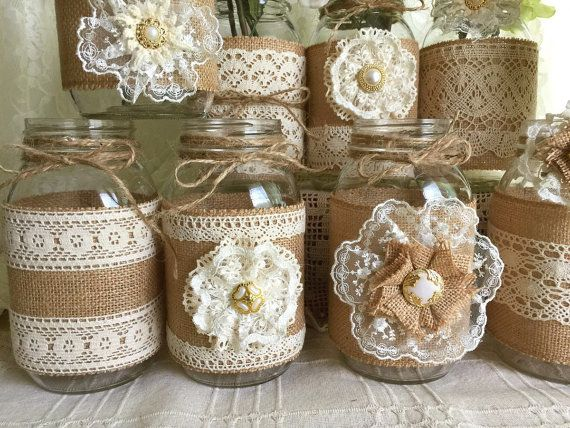 10x natural color lace and burlap covered mason jar vases, wedding, bridal shower, baby shower decoration.  I made this adorable vases with natural color burlap and natural color cotton and ivory color laces, handmade lace flowers, plastic buttons.  jars size: 32 OZ 3.78 x 7.0 (Flowers NOT included)  After i receive payment, please EXPECT approximately 2 to 3 WEEKS for your item to be made and prepared for shipment.  I also make any color and size vases you want, just let me know what you…