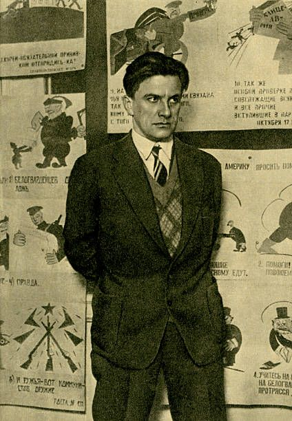 Vladimir Mayakovsky at his exhibition '20 years of Mayakovsky's works' Russian poet playwright and artist early 20th century Russian Futurism19 July...