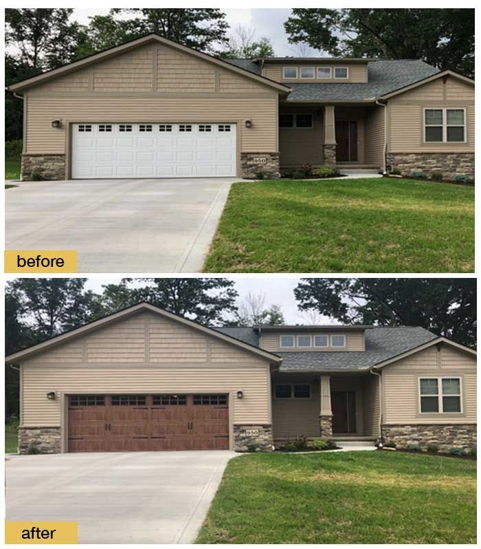 October 2018 Garage Door Makeover Before After Photo Garage Doors Garage Door Colors Garage Door Makeover