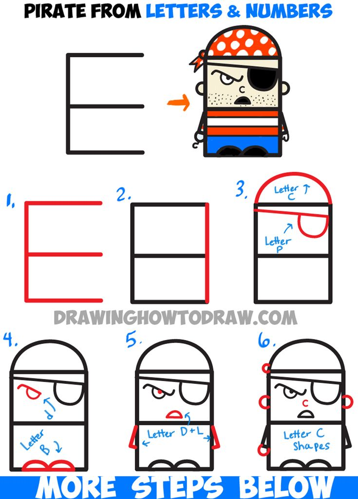 How to Draw Cartoon Pirate from Letters and Numbers - Easy Tutorial for Kids