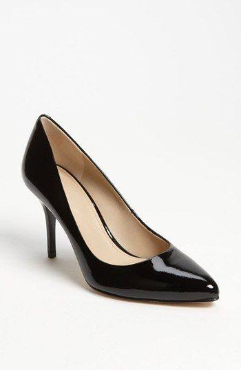 Joan & David black patent leather pointed toe pump