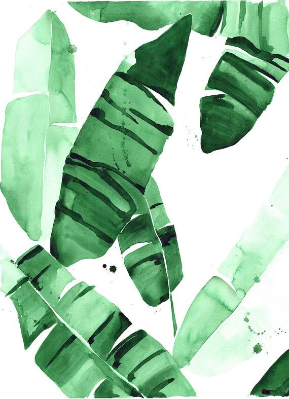"20 x 30 ""Beverly IV"" Tropical Banana Leaves Watercolor Giclee Fine Art Print Poster"
