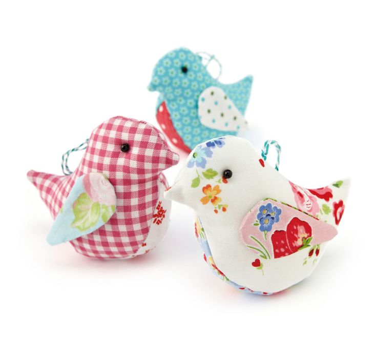 These sweet little fabric birds by designer Helen Philipps are the perfect project for children to try. Just cut out your templates and sew!