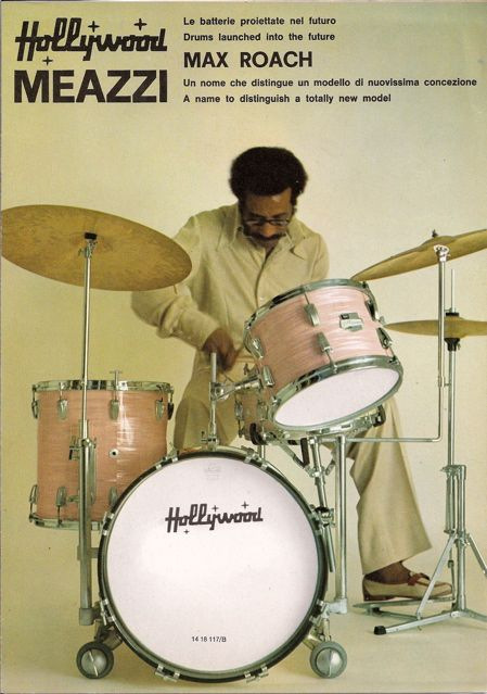 Vintage catalog page -- Max Roach plays Hollywood by Meazzi drums.
