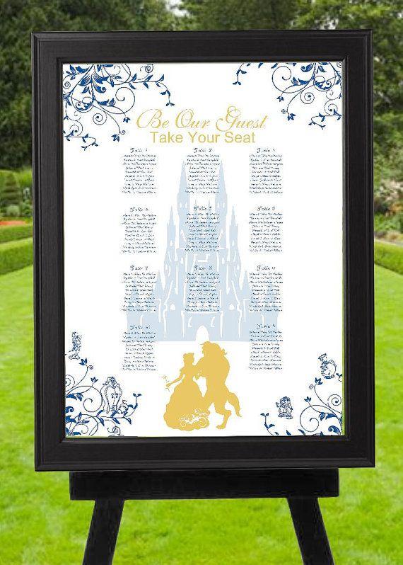 Digital Blue Gold Beauty and the Beast Wedding by lovebirdslane