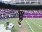 Serena Williams dancing after winning Maria Sharapova and secured olympic gold medal.