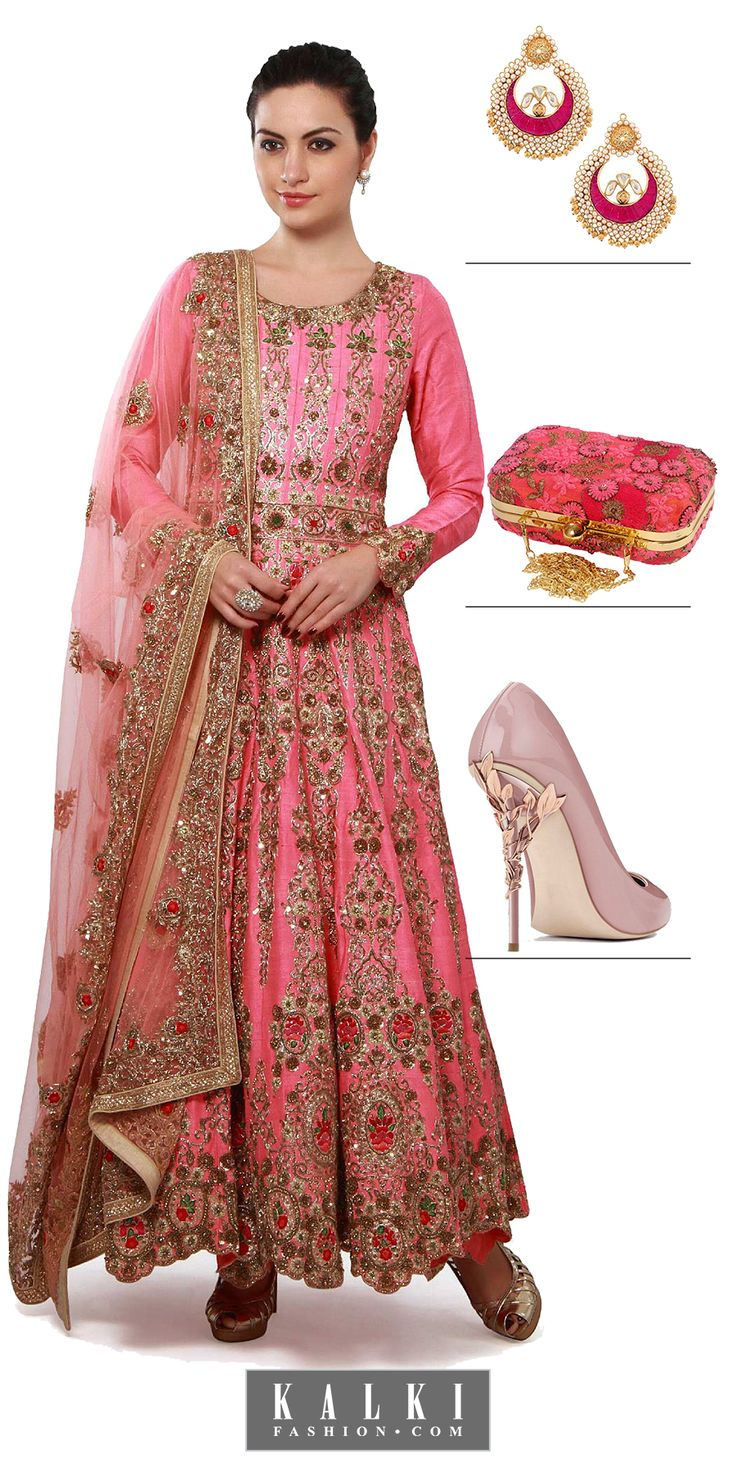 Sway in style as you sizzle in this royal pink anarkali with Zari embroidery and leave everyone awestruck.