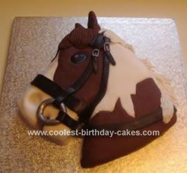 Homemade Horse Birthday Cake: I made this Horse Birthday Cake for my daughter's 8th birthday. Being horse mad she loved it! I made a square cake then cut the corners off to made the