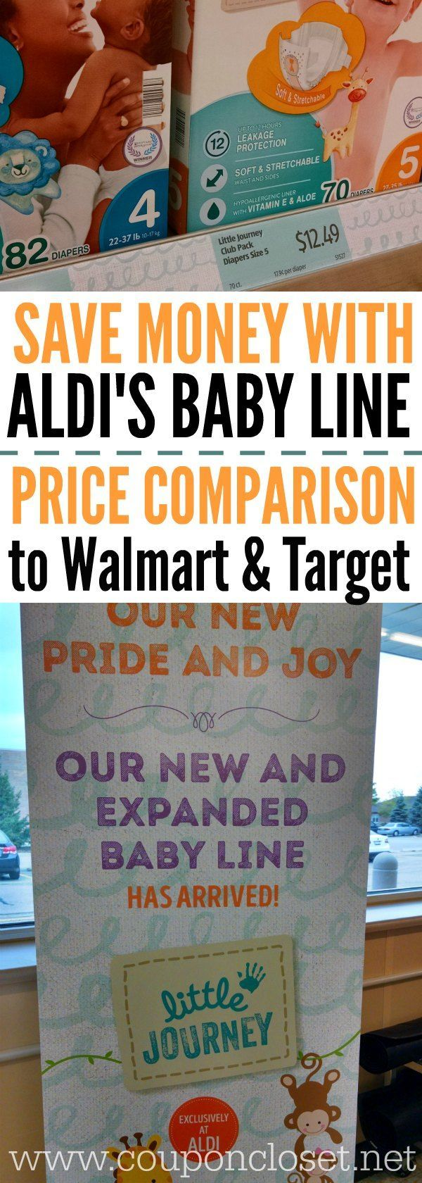 Here are tips to save money on baby products at Aldi grocery store. How to save money on Aldi brand formula, Aldi brand diapers, Aldi baby formula and more!