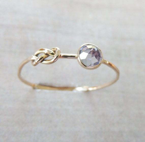 Tanzanite Gold Ring Infinity Knot Ring Delicate by Luxuring