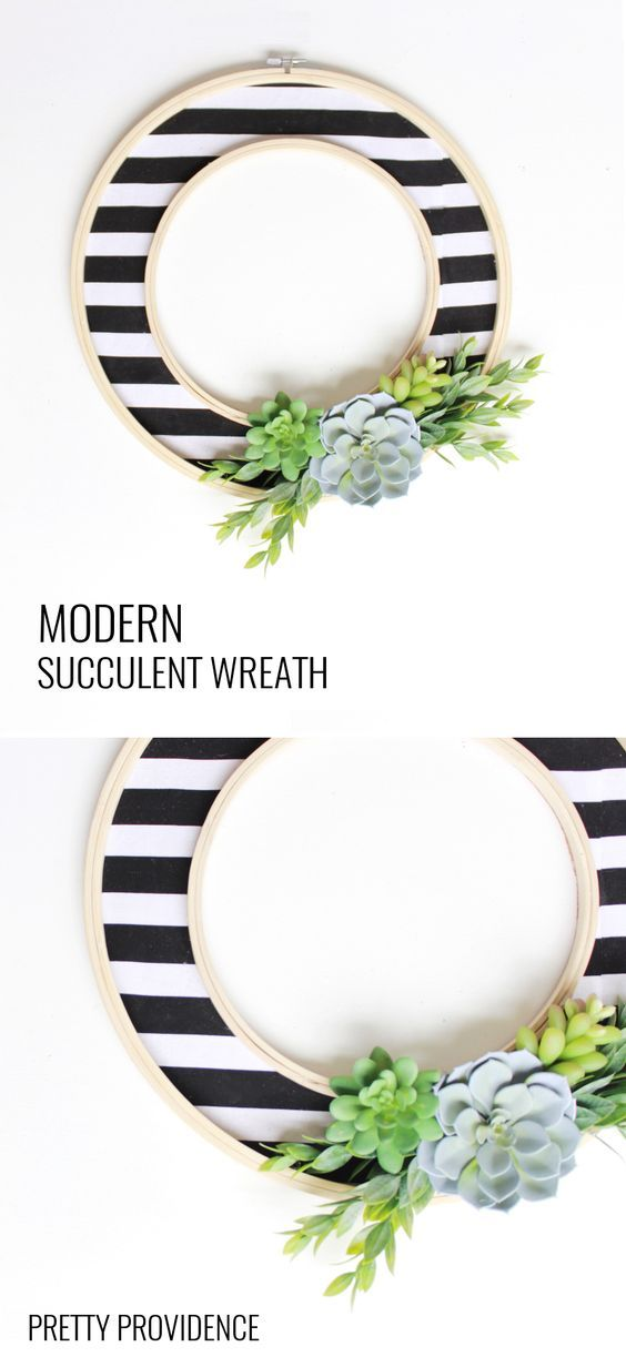 Easy DIY modern wreath with stripes and succulents!