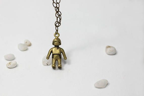 Playmobil figure pendant Brass playmobil Necklace Playmobil