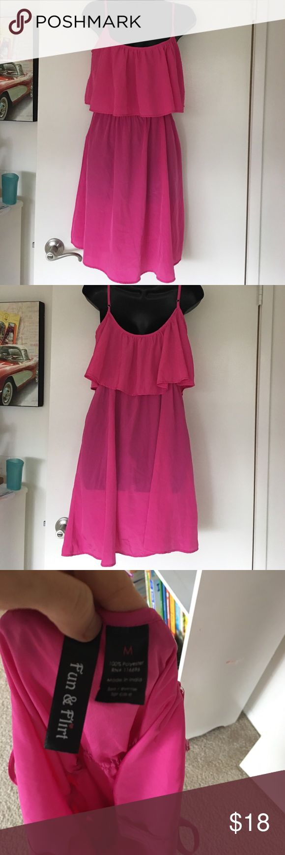 Dress🎉🎉WEEKEND SALE🎉🎉 So pretty and flirty. Has a very 70's look. Pink and wore once for my sons birthday. Spring or summer appropriate. Size is medium. Dresses