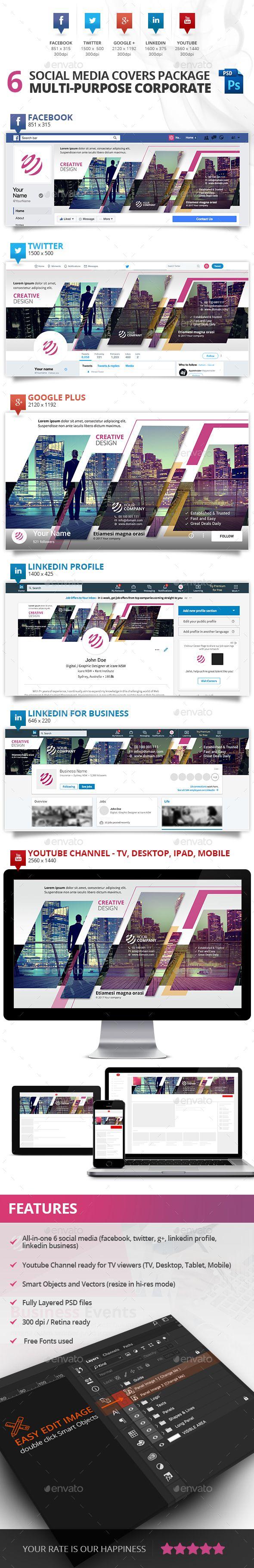 6 Social Media Multi-purpose Professional Covers - Social Media Web Elements