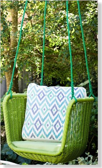 'Layla' swing chair. Clipped from Home Beautiful using Netpage.