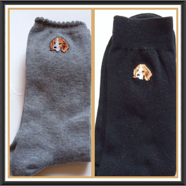 Lucky beagle socks. Men's & ladies. Available @facebook.com/PoppyRoseEmbroidery