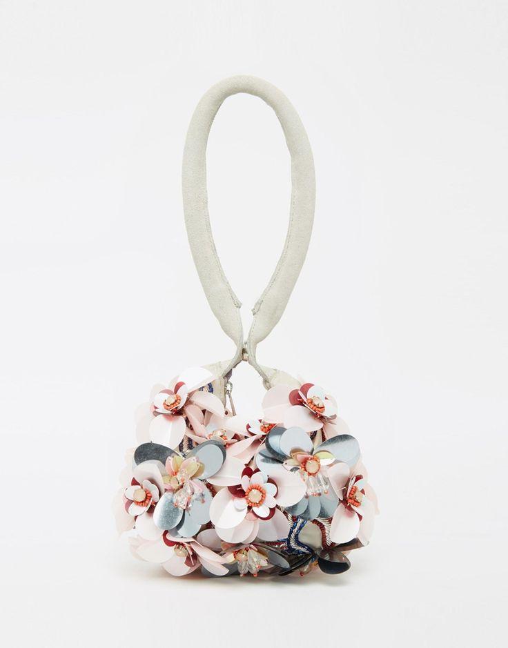 Image 2 ofASOS Big Flower Embellished Grab Clutch Bag