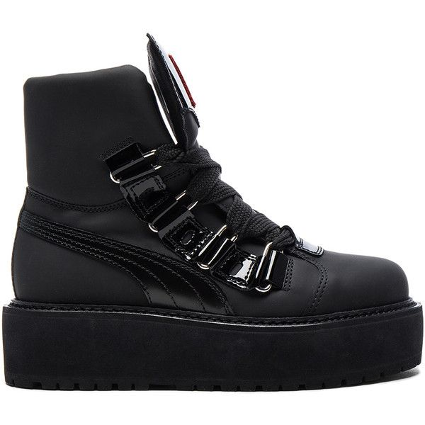 Fenty by Puma Leather Sneaker Boots (720 BRL) ❤ liked on Polyvore featuring shoes, boots, ankle boots, bootie boots, leather lace up boots, short boots and platform boots