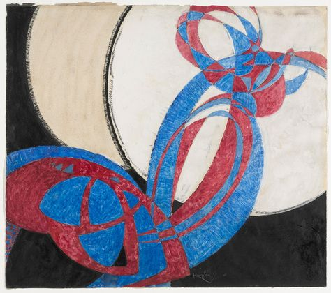 """František Kupka. AMORPHA: FUGUE IN TWO COLORS (1912) (1912). Gouache and ink on paper, 16 3/8 x 18 5/8"""" MoMA ORPHISM"""