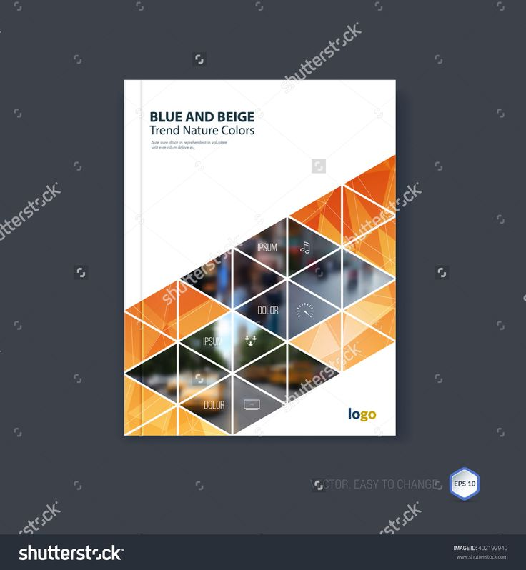 Abstract Cover Design, Business Brochure Template Layout, Report, Booklet In A4 With Orange Yellow Diagonal Triangular Geometric Shapes On Polygonal Background. Creative Vector Illustration. - 402192940 : Shutterstock
