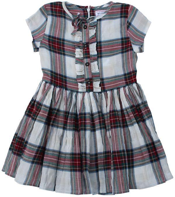 Morley - rode tartan jurk - Zwierige, rode tartan jurk met aansluitend bovenstukje en franjes naast het knopenrij tot op het middel. Rits op de rug. Samenstelling: 100% katoen.