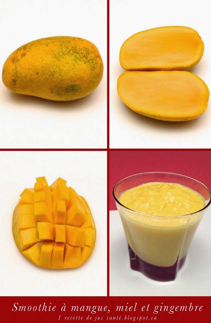1 recette de jus santé: Smoothie à la mangue, miel et gingembre