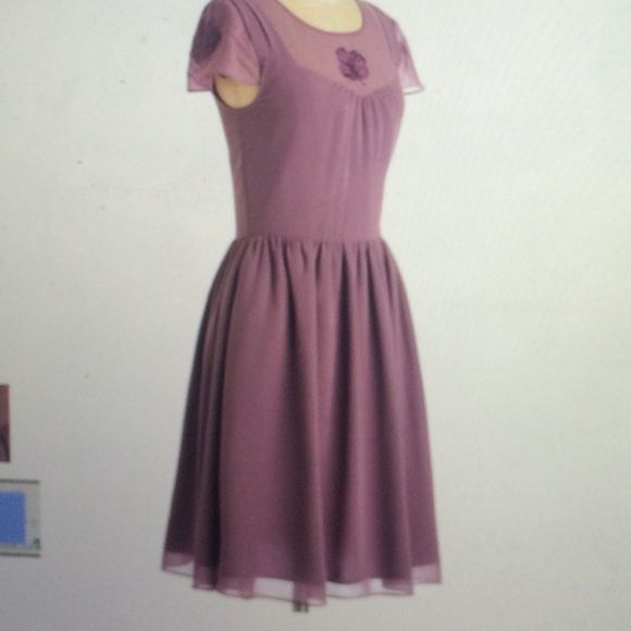 ModCloth mauve dress Pretty purple dress with embroidered flower. Polyester. Never worn. ModCloth Dresses Mini