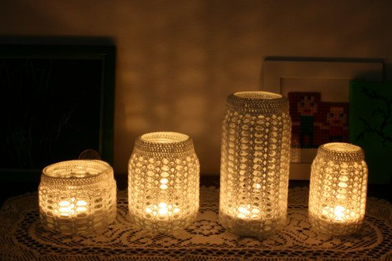 Crochet Pattern for Mason Jar Candle Holder Covers - these would be gorgeous at Christmastime!: Etsy Pattern, Crochet Patterns, Crochet Idea, Doily Lamp