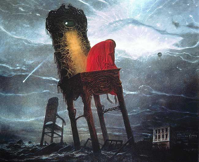 Surreal painting by Zdzislaw Beksinski, 1979