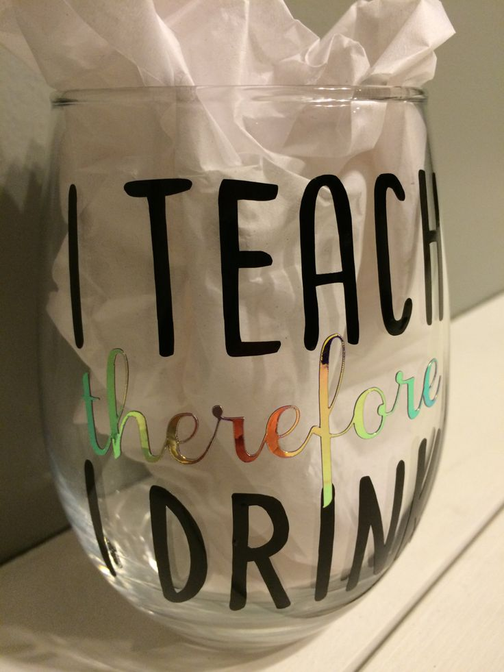 I Teach Wine Glass, Teacher Gift by MattyJDesigns on Etsy