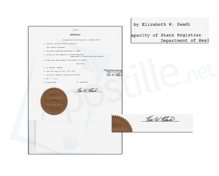 State of kansas apostille issued by kris w kobach secretary of state of kansas apostille issued by kris w kobach secretary of state of a live birth certificate signed by elizabeth w saadi pinterest birth certificate yelopaper Gallery