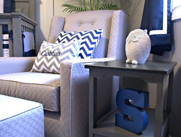 Navy and grey baby boy nursery. Furniture from restoration hardware. awelldressedlife