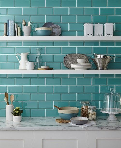 Teal subway tiles & open shelves