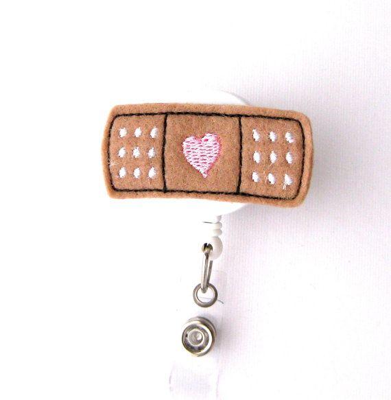 Bandaid Heart Name Badge Holder Cute Nurse Badge by BadgeBlooms
