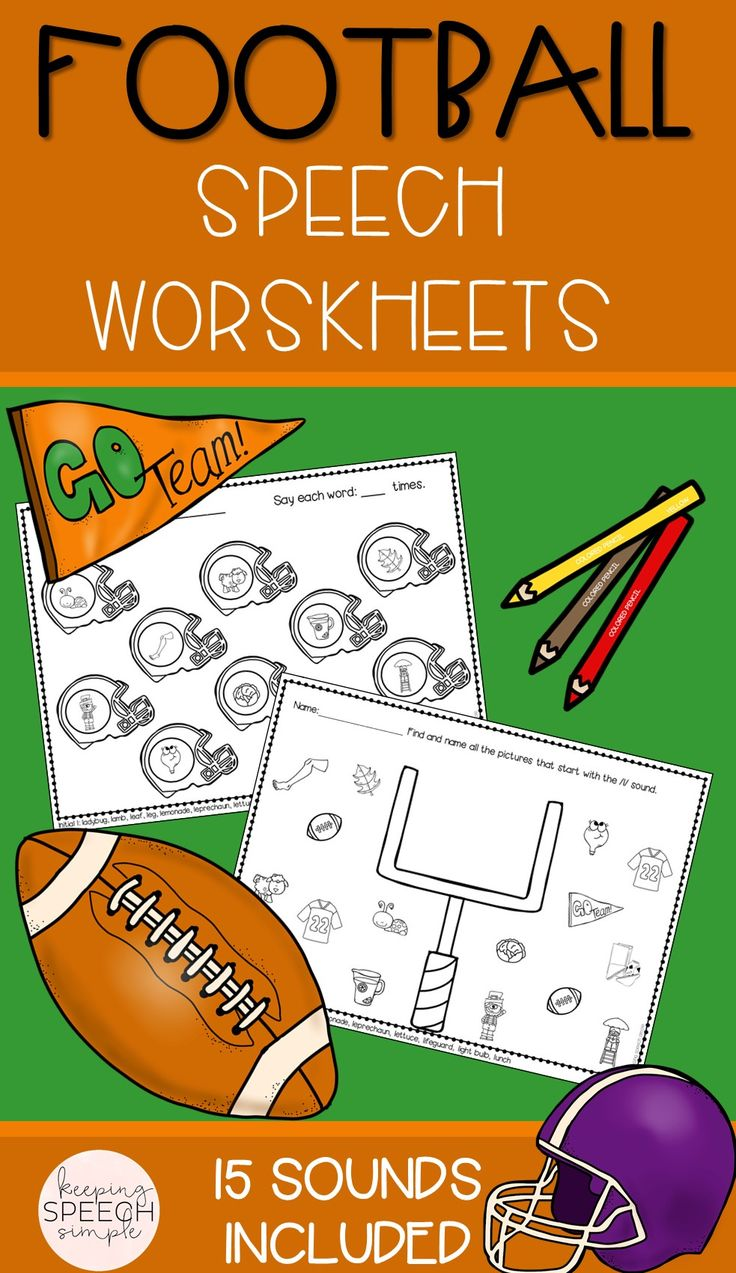 These NO PREP fun FOOTBALL themed worksheets are perfect for Fall or anytime of year.  All worksheets are picture supported, making them perfect for preschoolers and early elementary students. Word lists are also provided on the bottom of each sheet.  Targets include: K, G, R, L, CH, SH, TH, S, V, J, R, L blends,  R blends, S blends and vocalic ER. Most sounds include all word positions. Worksheets can be used for therapy sessions, RtI or home reinforcement. Just print and go!