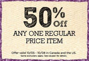 50% Off Coupon for Michaels Craft Store