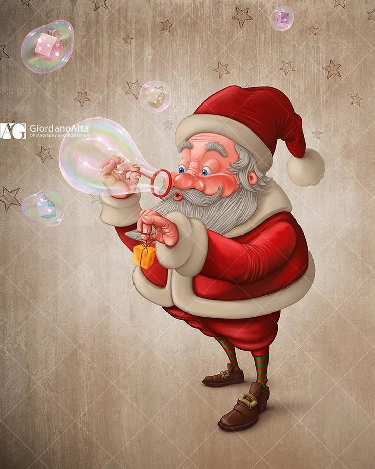 Santa Claus and bubble soap $ Contact me for illustration, poster, greetings card and more $
