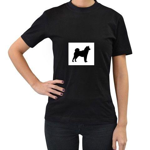 Shiba+Inu+Silhouette+Women's+T-Shirt+(Black)