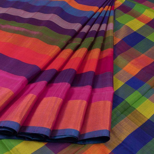 Buy online Handwoven Uppada Silk Saree With Multicolour Stripes & Zari Border 10025621
