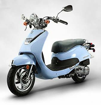 125 cc Lance Cali Classic Scooter in Sky Blue. 90 mpg, up to 60 mph. Yup, amazing.