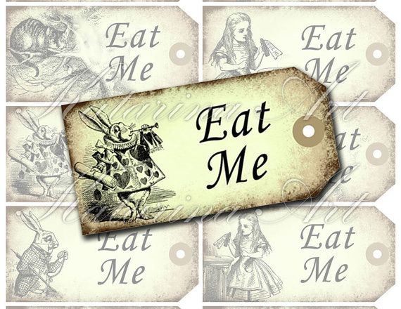 Alice in wonderland eat me tags mad hatter tea party gift for Alice in wonderland tags template