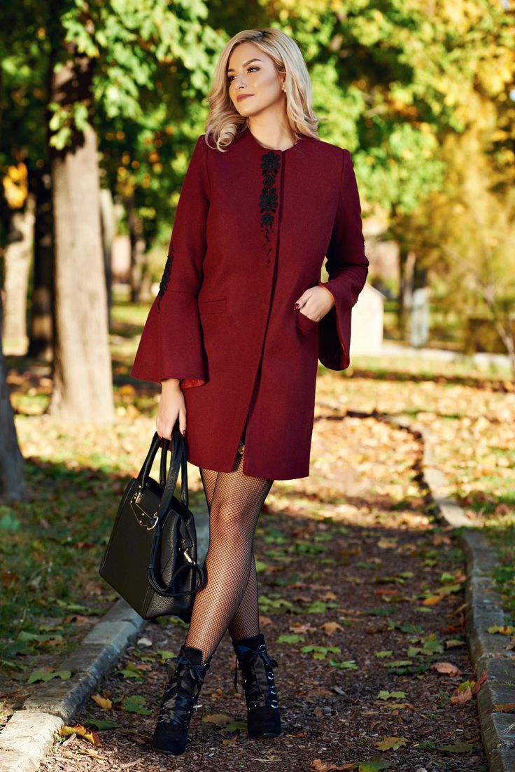 LaDonna burgundy elegant straight embroidered coat from cloth, with pockets, inside lining, women`s coat, non elastic fabric