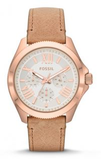 Fossil AM4532 Cecile Multifunction White Dial Beige Leather Strap Women's Watch