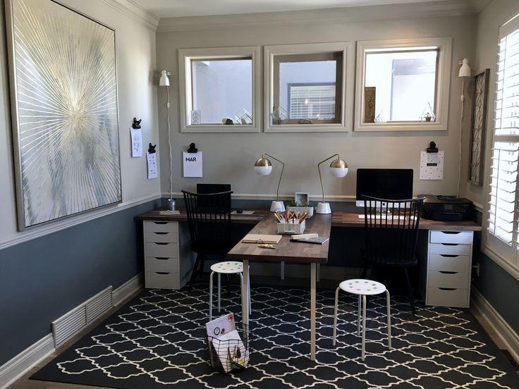 Family Home Office Diy Ikea Hack Desk T Shaped Desk Giant